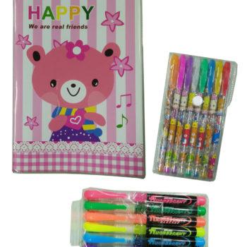 筆記本4色螢光筆金蔥筆